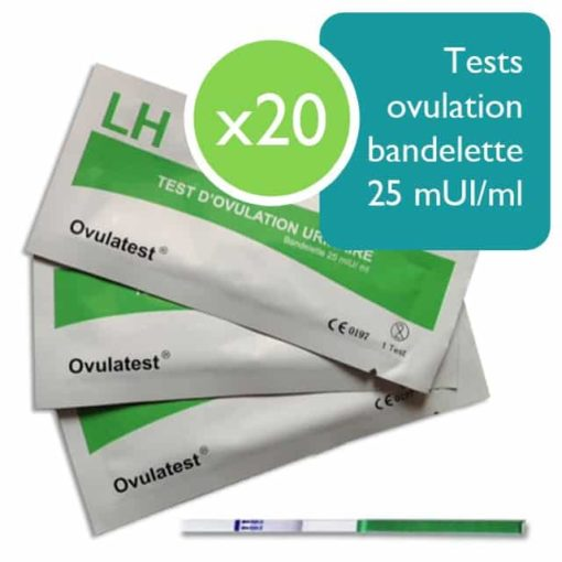 20 tests d'ovulation bandelette 25 mUI