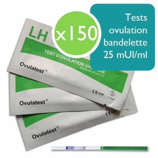 150 tests d'ovulation bandelette 25 mUI/ml