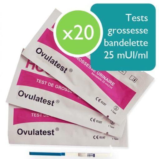 20 tests de grossesse bandelette 25 mUI