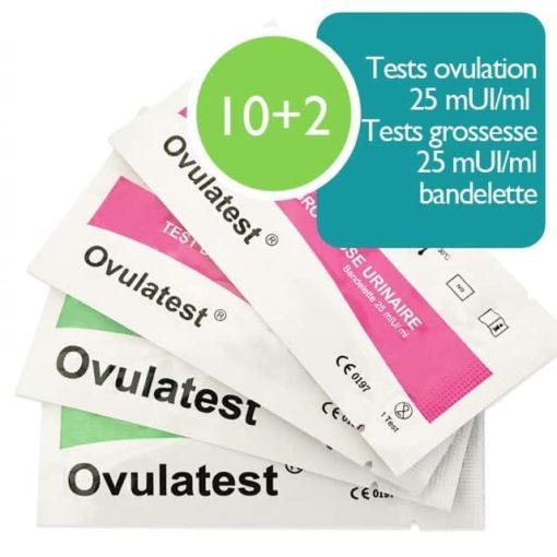 10 Tests d'ovulation bandelette 25 mUI/ml + 2 tests de grossesse 25 mUI/ml