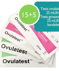 15 tests d'ovulation bandelette 25 mUI + 5 tests de grossesse