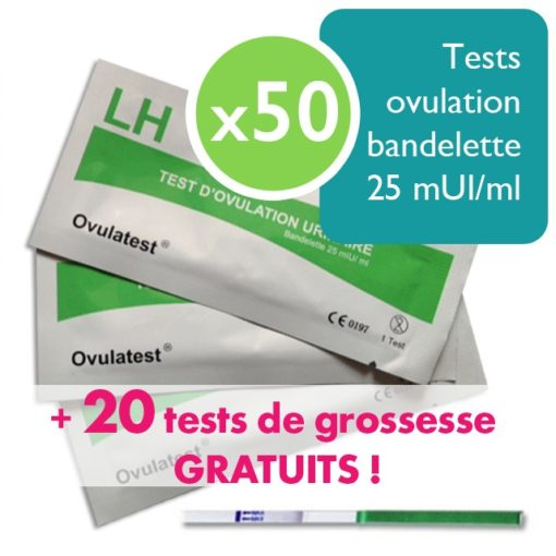 50 tests d'ovulation bandelette 25 mUI + 20 tests de grossesse bandelette 25 mUI